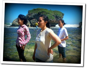 with friends at kukup beach